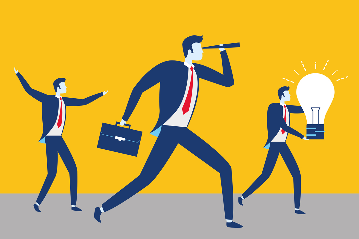 Illustration of business professionals for the article The Marketing Control Process